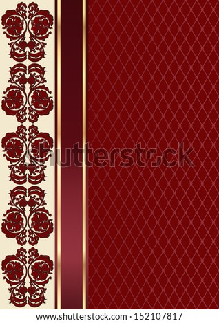 Claret valentine background with floral pattern and ribbon. Rectangle - stock vector