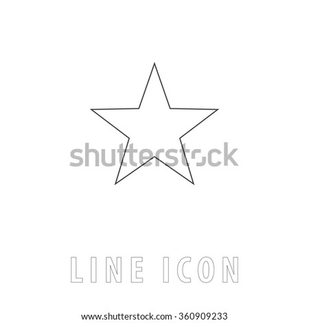Clasic star Outline simple vector icon on white background. Line pictogram with text  - stock vector