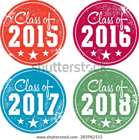 Class of 2015, 2016, 2017 and 2018 Stamps - stock vector