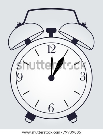classic alarm clock on background - stock vector
