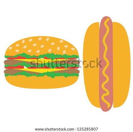 Classic american fast food - sausage with mustard Cheeseburger, hamburger with cheese over white - stock vector