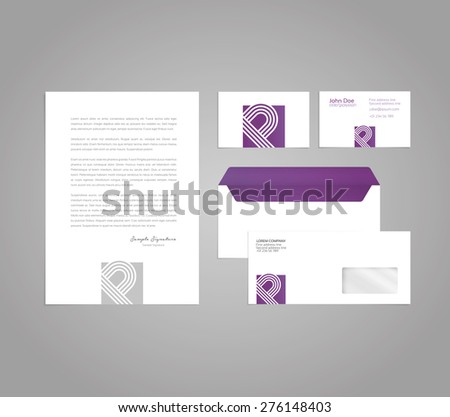 Classic and professional stationery template design for your company with a business card, letter and envelope - stock vector