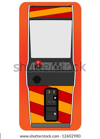 Classic arcade cabinet, old fashion gaming machine. - stock vector