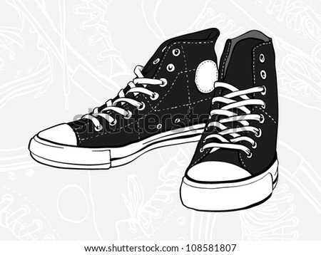Classic black and white pair of sneakers - stock vector