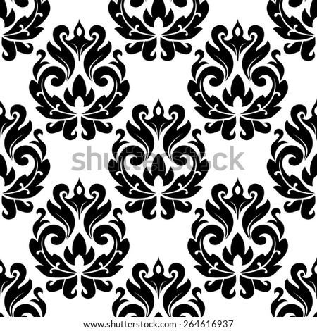 Classic black floral damask seamless pattern for interior or background design - stock vector