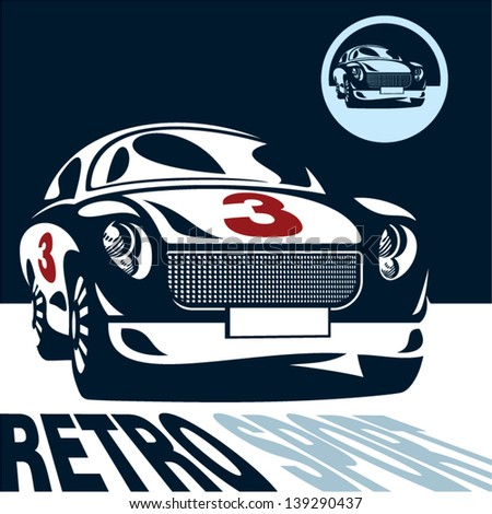 Classic car isolated vector. Retro style sport car label. - stock vector