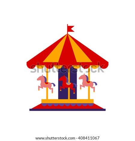 Classic Carousel With Horses Primitive Colorful Style Flat Isolated Vector Icon On White Background - stock vector