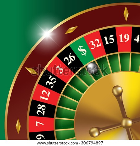 Classic casino roulette wheel with lucky sector. Vector illustration - stock vector