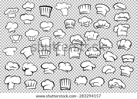 Classic chef toques and baker hats in outline sketch style on gray checkered background for restaurant or cafe kitchen staff uniform design - stock vector