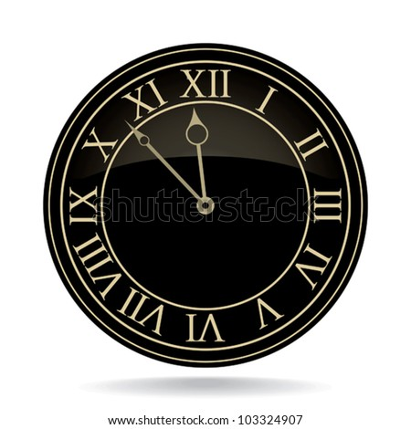 Classic clock with roman numbers. - stock vector