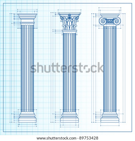 classic columns background sketch isolated on white, vector  - stock vector