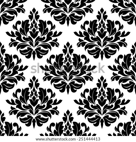 Classic damask floral seamless pattern with black flowers on white background - stock vector