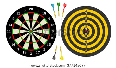 Classic dart board - front and back, with green, yellow, red, blue and black darts. dartboard with twenty sectors and bull eye . vector art image illustration, isolated on white background, eps10 - stock vector