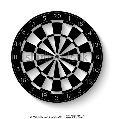 classic dartboard  icon - vector illustration with shadow - stock vector