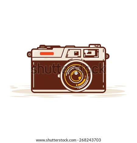 Classic film cameras are widely used in the past. - stock vector