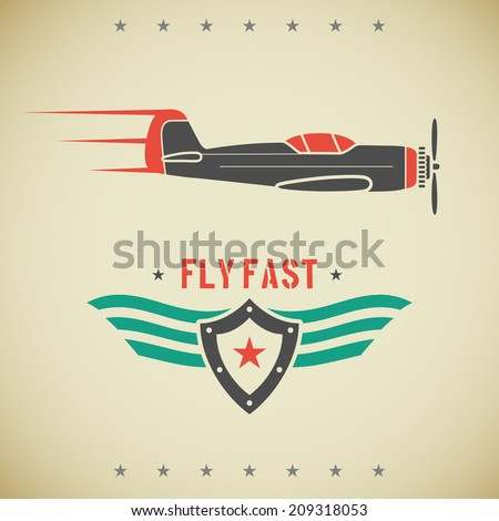 Classic flat looking fast plane and emblem with shield and wings - stock vector