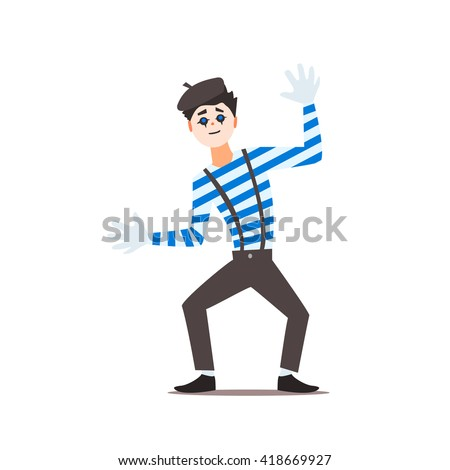 Classic French Mime Isolated Primitive Design Style Vector Illustration on White Background - stock vector