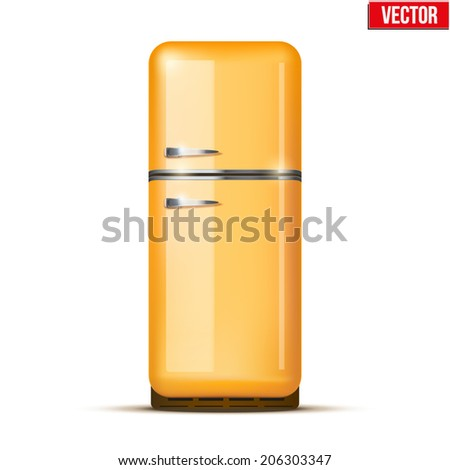 Classic Fridge refrigerator in orange color. Household appliances. Vector isolated on white background - stock vector