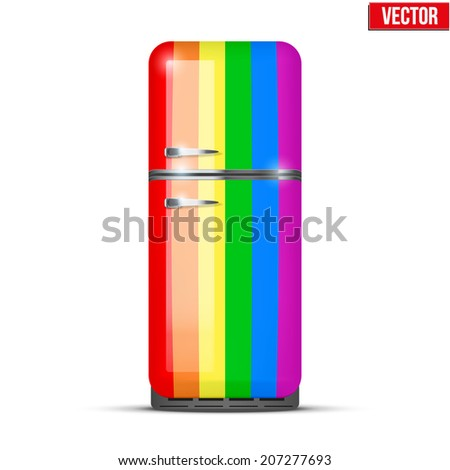 Classic Fridge refrigerator in rainbow color. Household appliances. Vector isolated on white background - stock vector