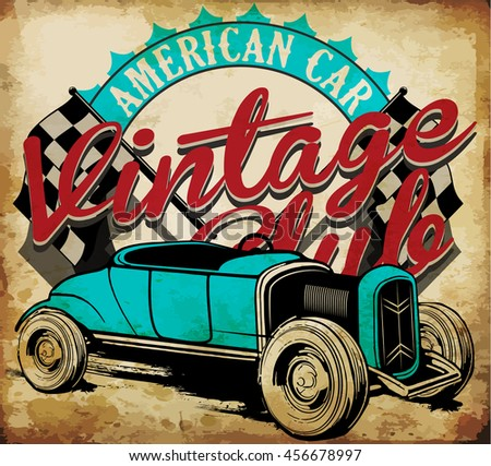 Classic Garage - Vector EPS10 Tee Graphic Design - stock vector