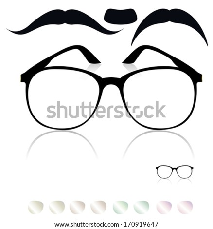 Classic glasses, mustache. Set of colored lenses - stock vector