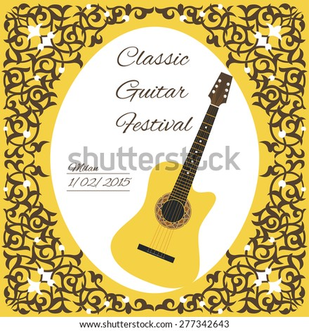 classic guitar festival. guitar with decorative ornament poster card. vector illustration - stock vector