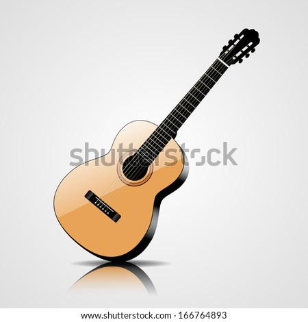 Classic guitar vector illustration isolated on white background - stock vector