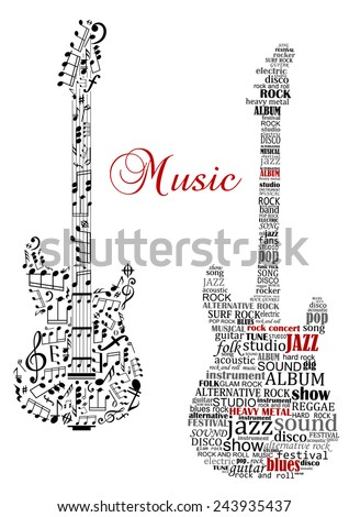 Classic guitars with words and musical notes and text Music for art design - stock vector