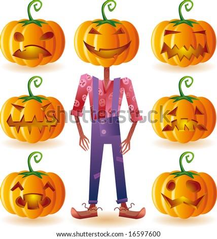 Classic halloween pumpkins set plus one scary scarecrow. - stock vector