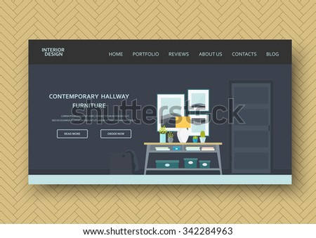 Classic hallway interior with vintage furniture: console table, lamp, pictures. Flat design. Horizontal banner on wooden pattern. Vector illustration - 10 EPS - design elements for your advertising - stock vector