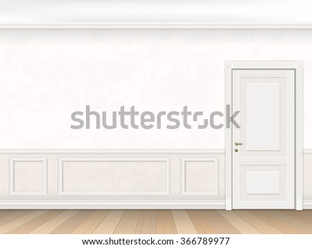 Classic interior in white color with door and wall panel. Realistic vector illustration of the interior. - stock vector