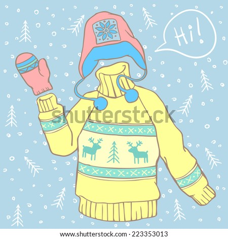 Classic knitted winter sweater with deer waving its sleeve and saying Hi! Cartoon style vector illustration  - stock vector