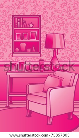 Classic Living Room Illustration - stock vector