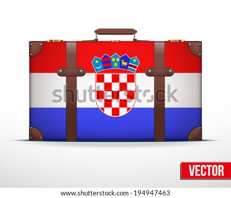Classic luggage suitcase with flag Croatia for travel. Vector Illustration. Editable and isolated. - stock vector