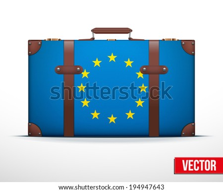 Classic luggage suitcase with flag Europe Union for travel. Vector Illustration. Editable and isolated. - stock vector