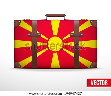 Classic luggage suitcase with flag Macedonia for travel. Vector Illustration. Editable and isolated. - stock vector