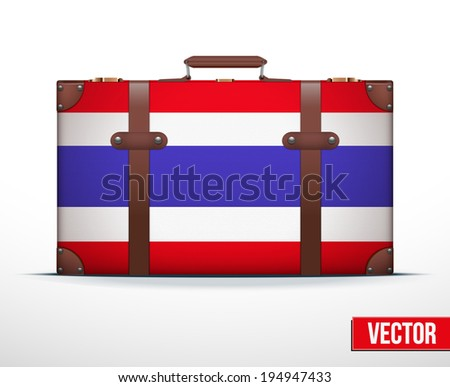 Classic luggage suitcase with flag Thailand for travel. Vector Illustration. Editable and isolated. - stock vector