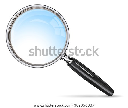 Classic Magnifying Glass. Vector EPS 10 magnifying glass. Blue lens effect.  - stock vector