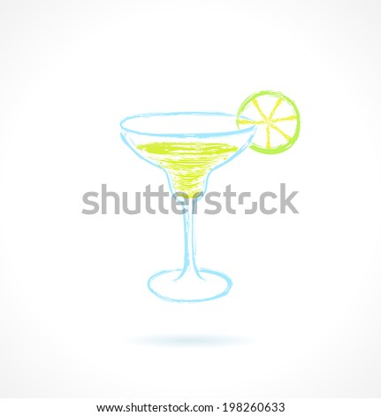 Classic margarita cocktail with lime. Ink vector illustration - stock vector