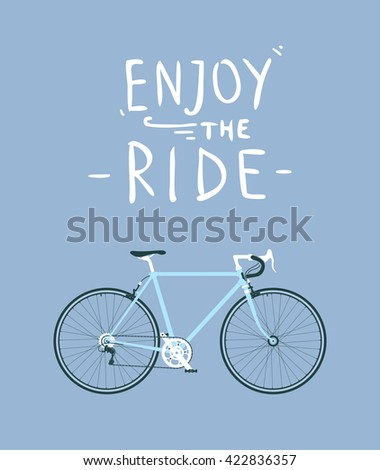 Classic mens town, road bike with enjoy the ride title, detailed vector illustration for card, t-shirt, etc. - stock vector