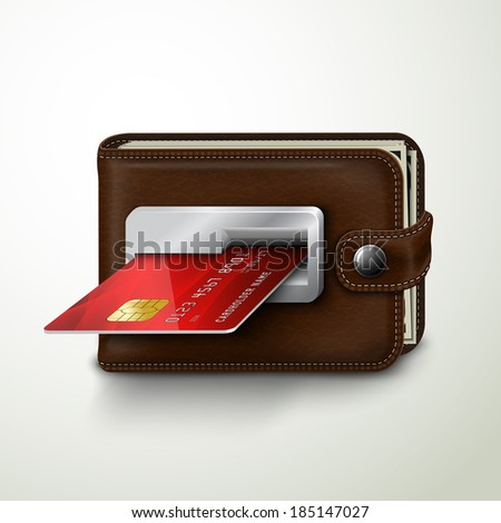 Classic modern brown wallet with leather texture as an atm bank machine slot with credit card concept isolated vector illustration - stock vector