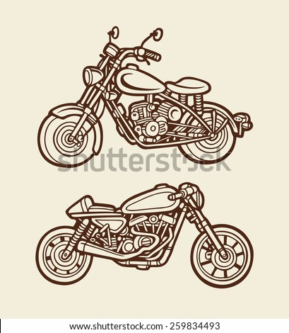 Classic motor cycle artistic sketch 2. Vintage color. Good use for illustration design, T-Shirt design, icon, vintage design, symbol, or any design you want. Easy to use, each object is a group.  - stock vector