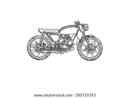 Classic motorbike on white background. Vector illustration. - stock vector