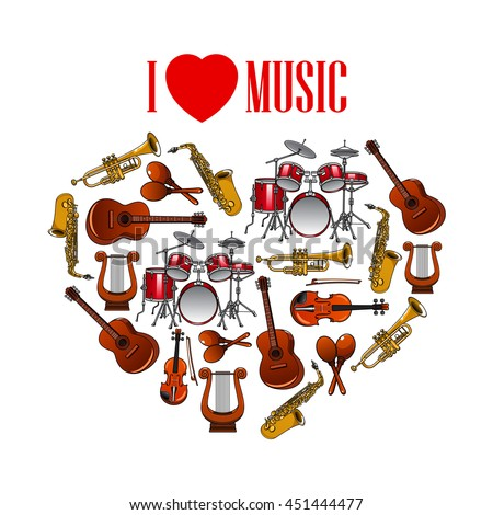 Classic musical instruments shaped in a heart symbol for I Love Music concept design with cartoon icons of trumpets and saxophones, drums, acoustic guitars and violins, maracas and vintage greek lyres - stock vector