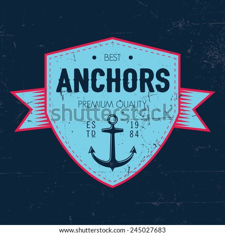 Classic nautical vintage label for your any designs - stock vector