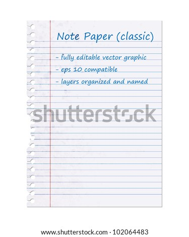 Classic Note Paper, Blank Sheet | EPS10 Vector Graphic | Layers Organized and Named - stock vector
