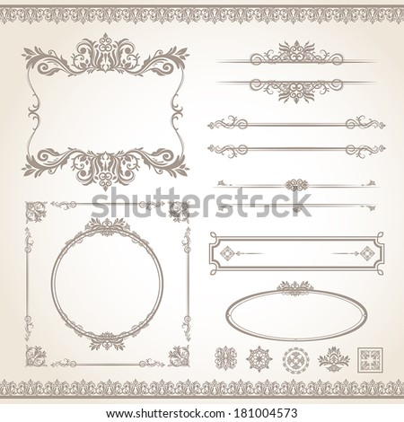 classic old style vector vintage frame set - stock vector