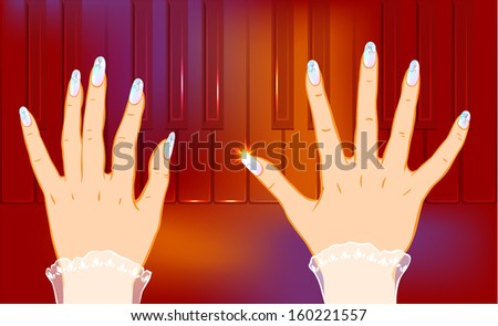 Classic piano player. Smartly grouped and layered. You can use elements separately. EPS10. - stock vector