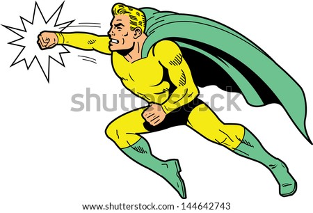 Classic retro superhero with cape and clenched teeth throwing a punch - stock vector