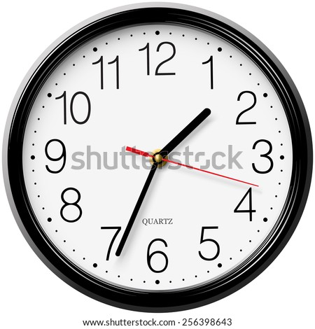 Classic round wall clock isolated on white background - stock vector